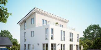 Doppelhäuser sind für Bauherren sehr attraktiv: zwei eigenständige Haushälften zum Wohnen und Arbeiten. (Foto: FingerHaus)