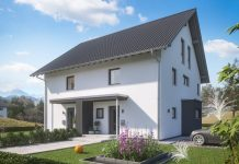 Doppelhaus in Fertigbauweise: platz- und kostensparend. (Foto: FingerHaus)