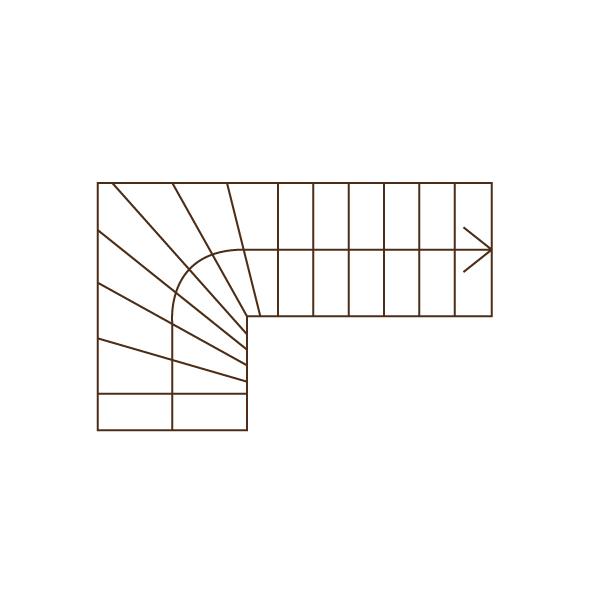 Treppengrundriss Treppe 1/4 gewendelt